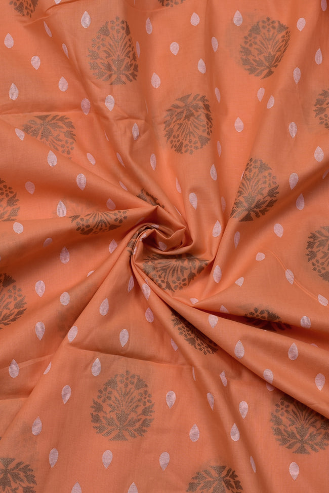 Peach Flower Print Rayon Fabric