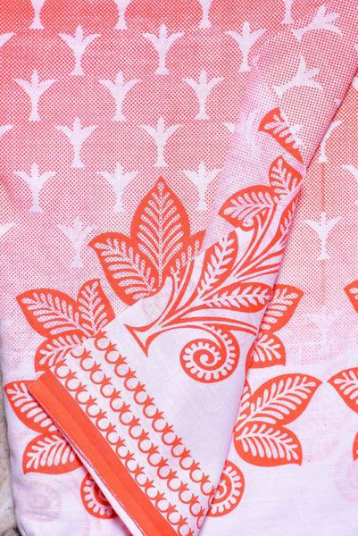 Orange Shaded Printed Cotton Fabric