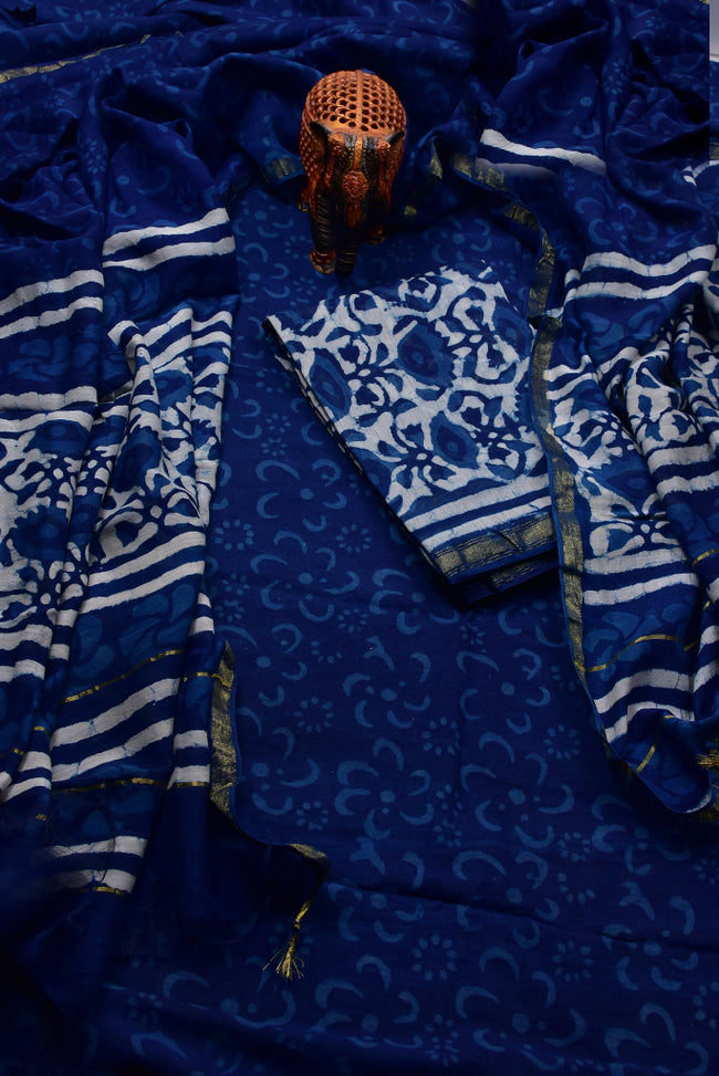 Blue Flower Print Chanderi Unstitched Suit Set with Chanderi Dupatta