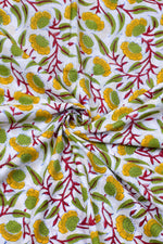 White with Yellow Flower Print Cotton Fabric