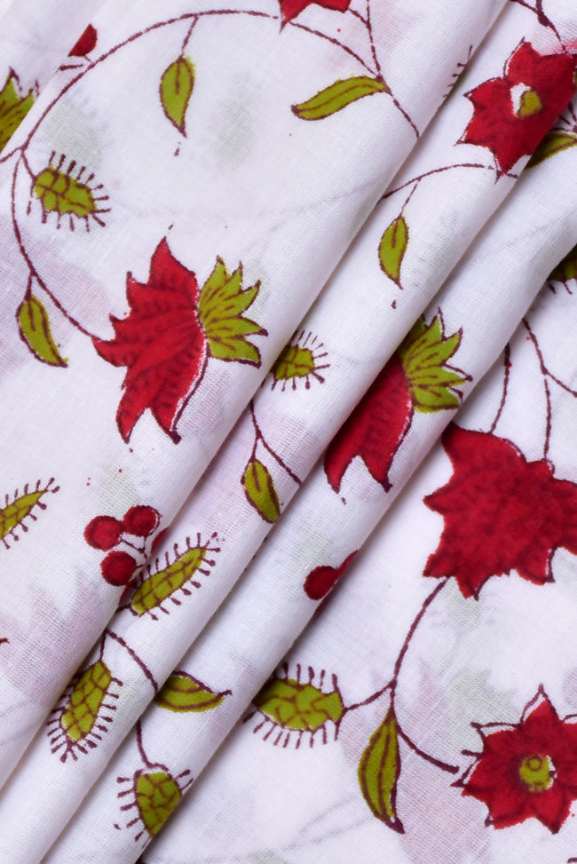 White with Pink Flower Print Cotton Fabric