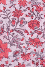 White & Pink Flower Print Cotton Fabric