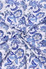 White & Blue Flower Print Cotton Fabric