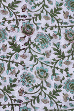 White & Green Flower Print Cotton Fabric