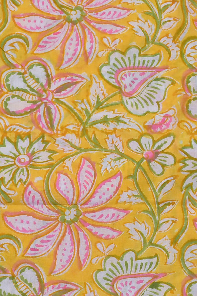 Yellow & Pink Flower Print Cotton Fabric