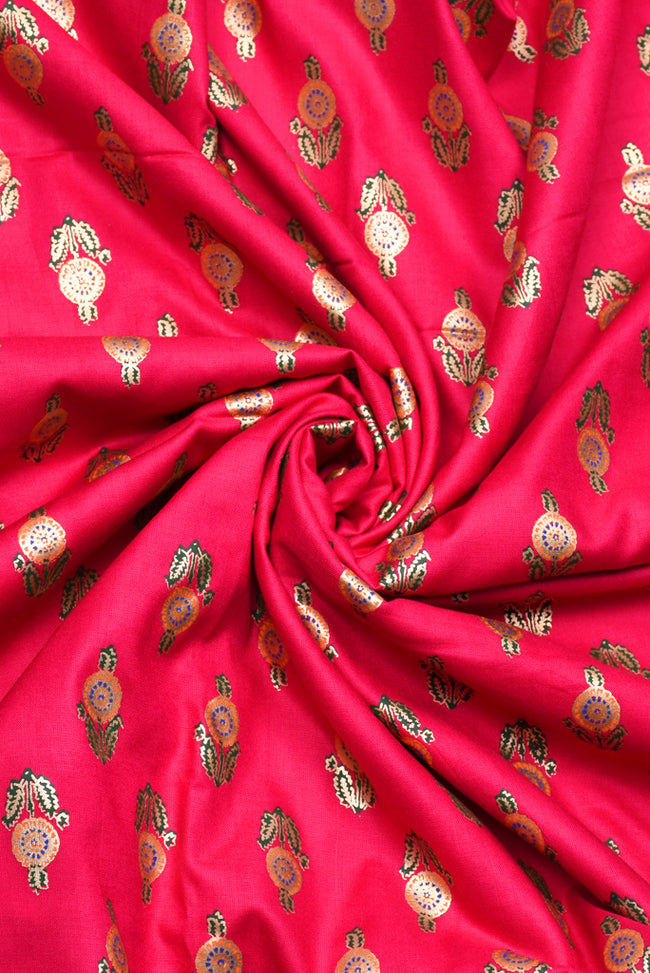 Torch Gold  Flower Print Rayon Fabric
