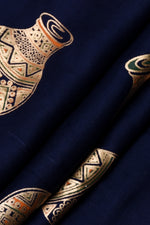 Navy Blue Gold Pot Print Rayon Fabric