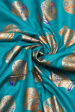 Bondi Blue Pot Print Rayon Fabric