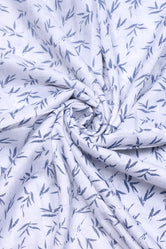 Ghost White Leaf Print Rayon Fabric