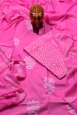 Pink with White Flower Print Cotton Unstitched Suit Set with Chiffon Dupatta