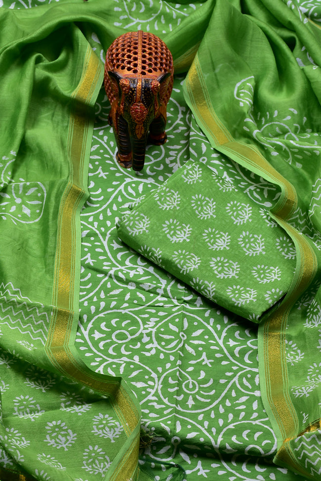 Green Flower Print Chanderi Unstitched Suit Set with Cotton Bottom