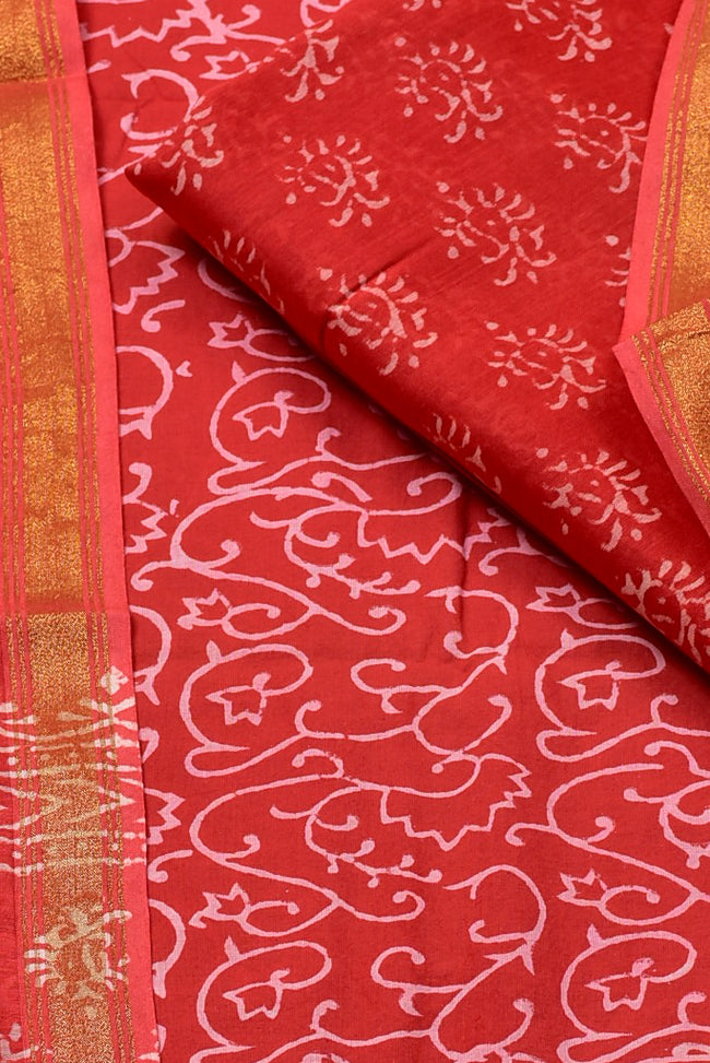 Pink Flower Print Chanderi Unstitched Suit Set with Cotton Bottom