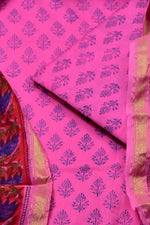 Light Pink Flower Print Chanderi Unstitched Suit Set with Cotton Bottom