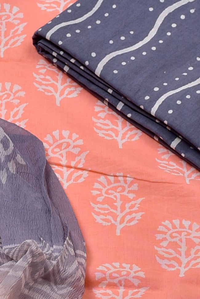 Light Pink with Blue Plant Print Cotton Unstitched Suit Set with Chiffon Dupatta