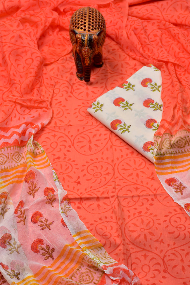 Orange Flower Print Cotton Unstitched Suit Set with Chiffon Dupatta