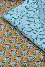 Light Mustered Flower Print Cotton Unstitched Suit Set with Chiffon Dupatta