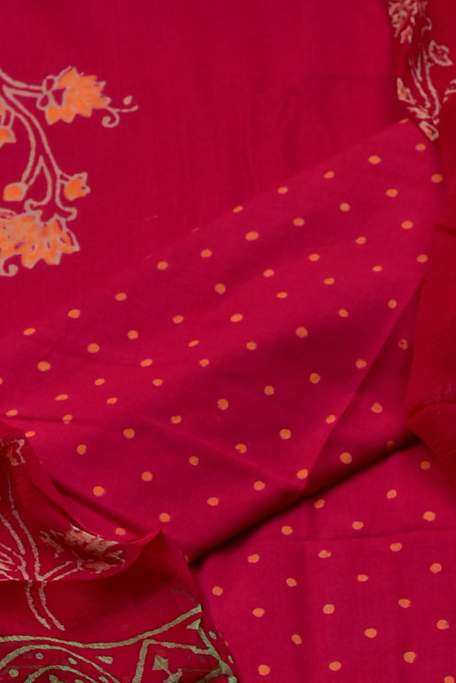 Dark Pink and Polka Dot Print Cotton Unstitched Suit Set with Cotton Dupatta