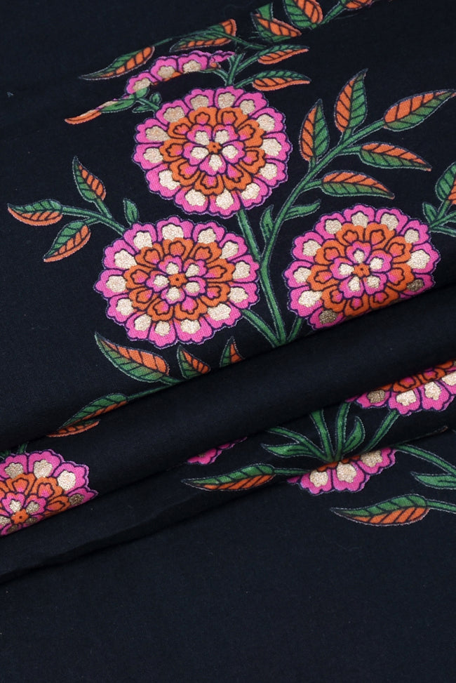 Black Floral Cotton Screen Print Fabric