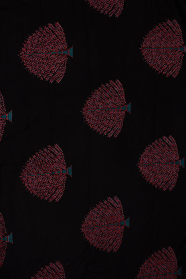 Black Tree Cotton Screen Print Fabric