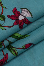 Sky Blue Floral Cotton Screen Print Fabric