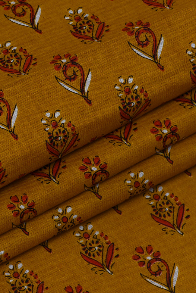 Mustard Yellow Floral Cotton Screen Print Fabric