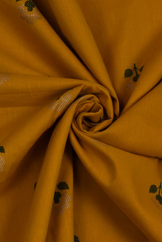 Green Leaf Gold Flower Yellow Cotton Screen Print Fabric