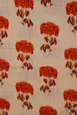 Red Flower Cream Cotton Screen Print Fabric