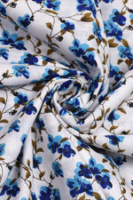 Blue Floral White Cotton Screen Print Fabric