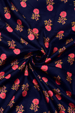 Dark Blue with Pink Flower Print Rayon Fabric