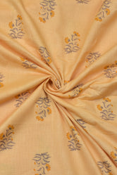 Light Orange Tree Print Cotton Fabric