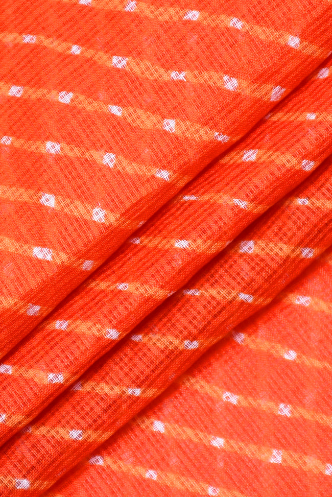 Orange Leheriya Kota Doria Fabric