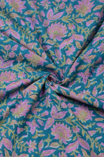 Blue with Pink Flower Print Cotton Fabric