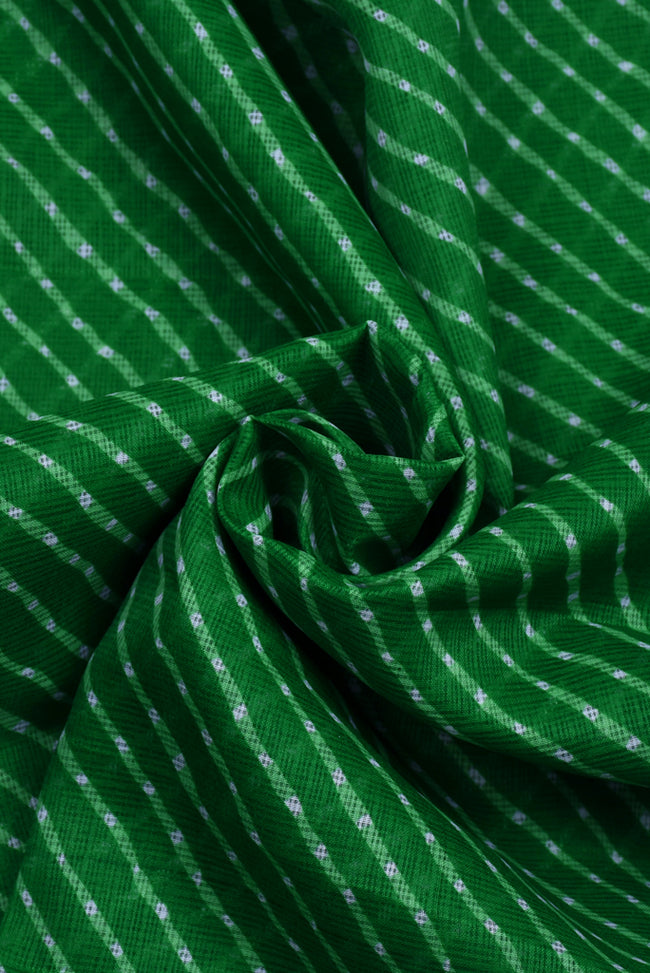 Dark Green Leheriya  Kota Doria Fabric