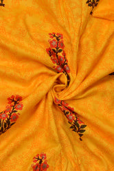 Yellow Tree Print Cotton Fabric