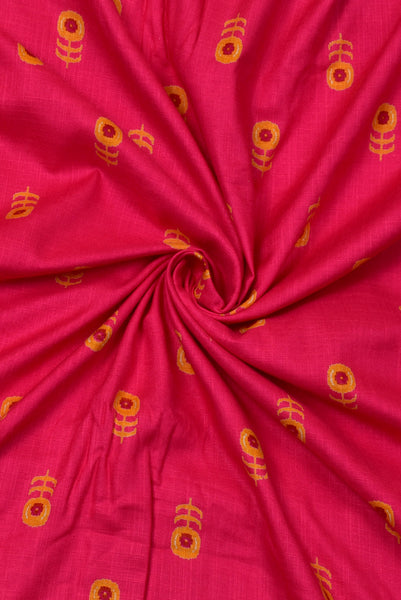 Pink and Golden Tussar Silk Fabric