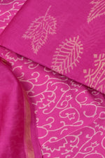 Pink Leaf Print Cotton Suit Set with Cotton Duppatta