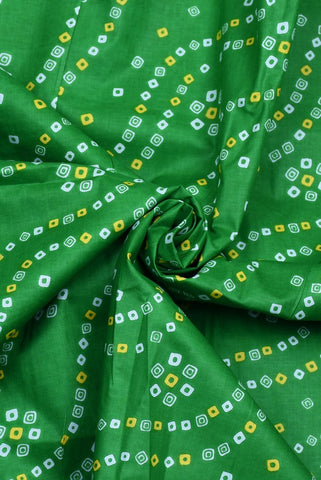Green Bandhej Cotton Printed Fabric