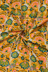 Yellow Flower Print Cotton Fabric