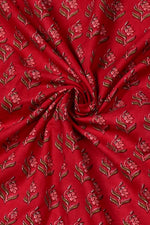 Red Tree Print Cotton Fabric