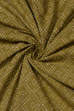 Dark Green Dot Print Cotton Fabric