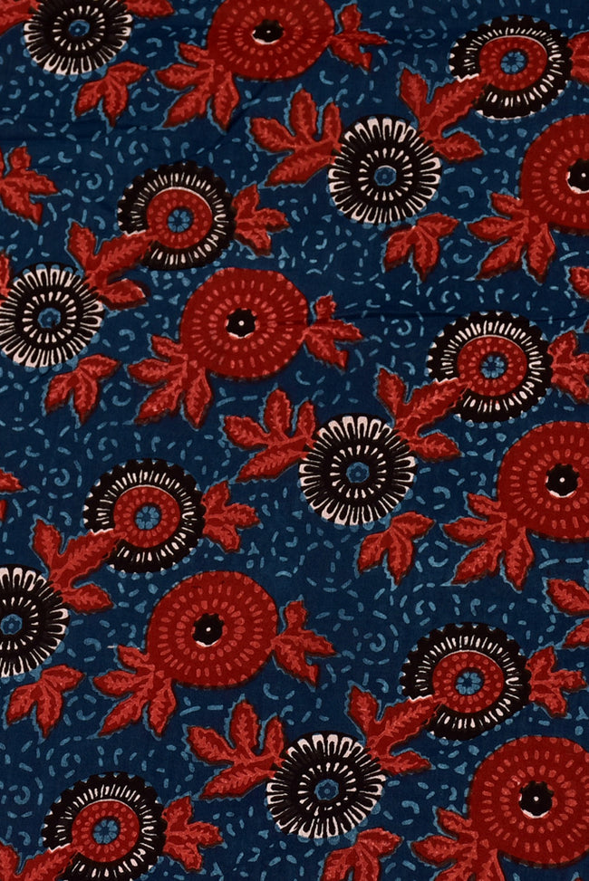 Red & White Flower Print Cotton Fabric
