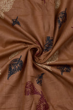 Brown Leaf Printed Cotton Fabric