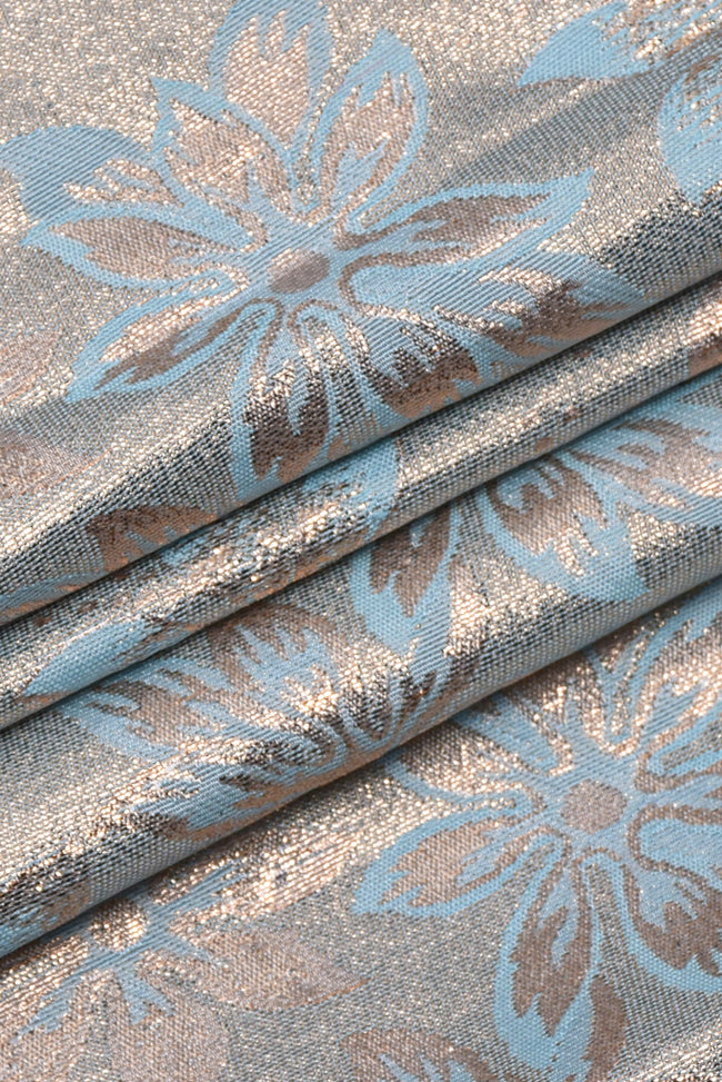 Blue Flower Print Jacquard Silk Fabric