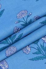 Blue Flower Printed Cotton Fabric