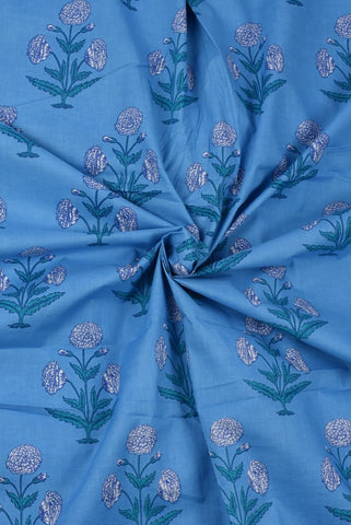 Blue Plant Print Mughal Cotton Fabric