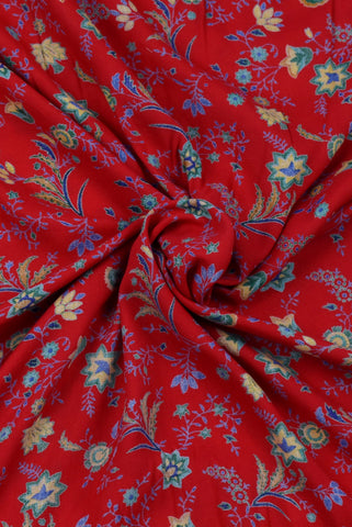 Red Floral Printed Cotton Fabric