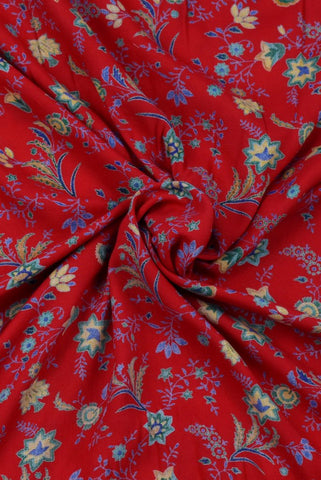Red Flower & Leaf Print Rayon Fabric