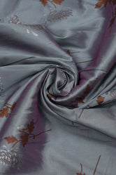 Grey Flower Print  Silk Fabric