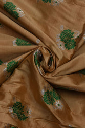 Brown Flower Print Banarsi Silk Fabric