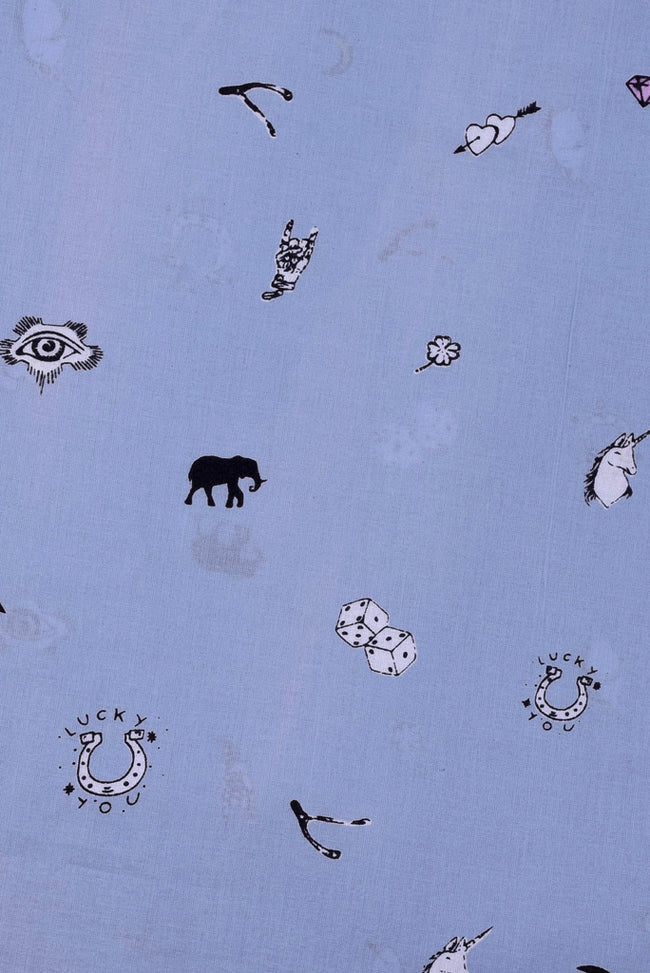 Sky Blue Animal Printed Cotton Fabric